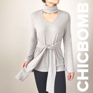 Kourtney high neck choker sweater